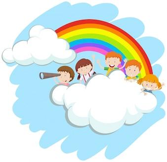 Szczęśliwe dzieci nad ilustracją tęczy