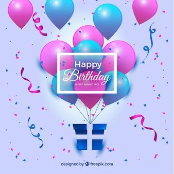 Szczęśliwe tło urodzinowe z balonami i prezentem