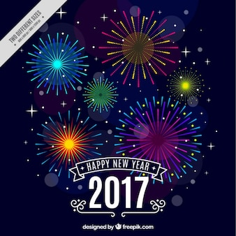Szczęśliwego nowego roku tła z kolorowych fajerwerków