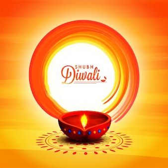 Szczęśliwy Diwali celebracji błyszczące tło z olejem Lampa.