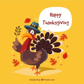 Szczęśliwy dziękczynienia tle indyka