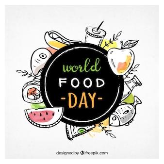 Szczęśliwy dzień świata żywności tle