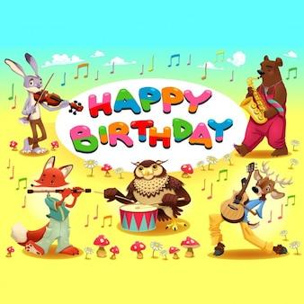 Szczęśliwy kartka urodzinowa ze zwierzętami muzyk Cartoon ilustracji wektorowych