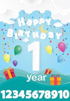 Szczęśliwy urodzinowy gretting karty plakat projektowania ilustracji