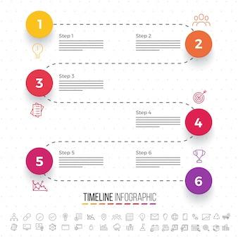 Sześć kroków, rozkład Timeline Infographics z zestawami ikon, w wersjach czarno-białych i kolorowych.