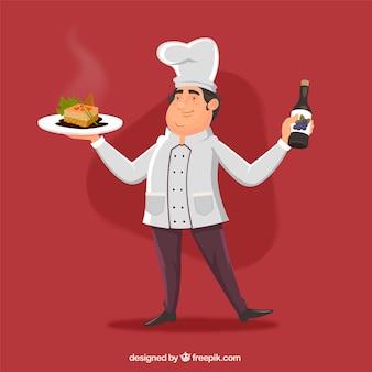 Szef kuchni tle wino i pyszne naczynie