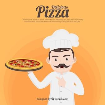 Szef kuchni w tle z pizzy