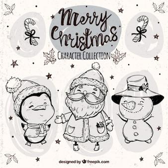 Szkice Funny Christmas znaków z kapeluszami