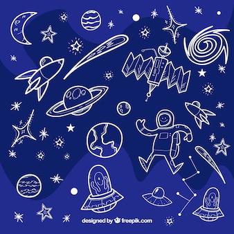 Szkice wszechświata tle elementów
