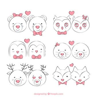 Szkice zwierząt Walentynki