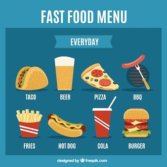Szybkie jedzenie menu