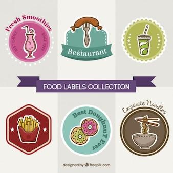 Szybkie jedzenie w restauracji Etykiety