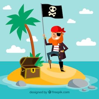 Tło ładny pirat na wyspie