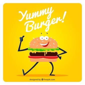Tło śmieszne hamburgera