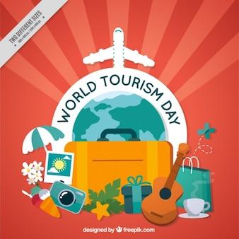 Tło światowej turystyki dzień z elementami podróży