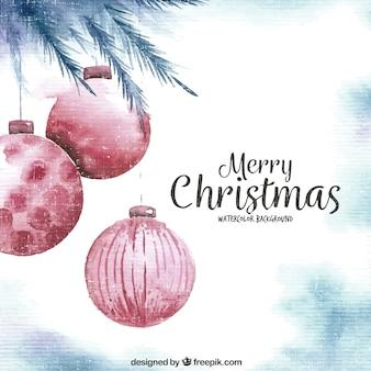 Tło Akwarele Boże Narodzenie kulek