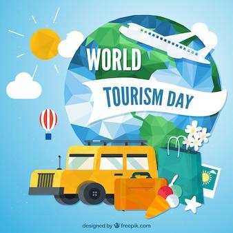 Tło dla światowej turystyki dzień w stylu wielokąta
