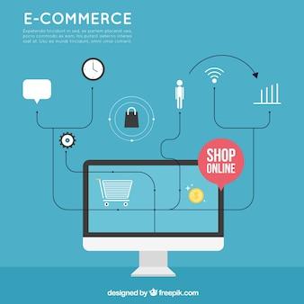 Tło komputera i zakupy online