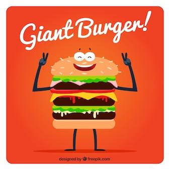 Tło miły gigantyczny hamburger