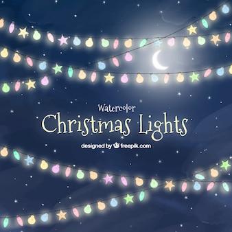 Tło niebo z christmas światła