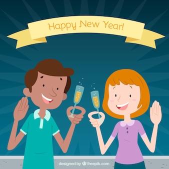 Tło nowego roku z szczęśliwej pary
