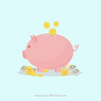 Tło piggy bank z monet i banknotów