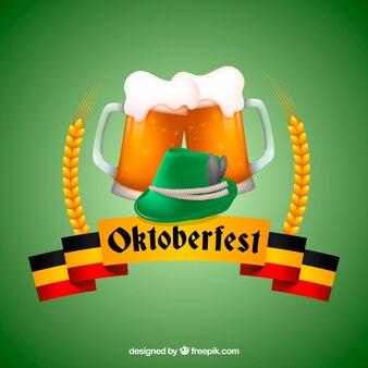 Tło piwa z zielonym tle i oktoberfest