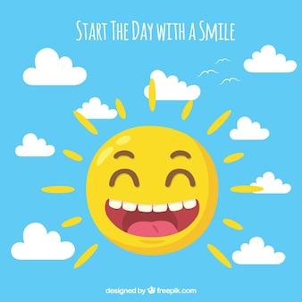 Tło szczęśliwy słońce i chmury