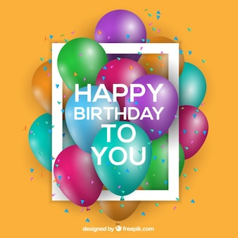 Tło urodziny z kolorowych balonów