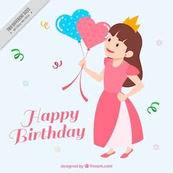 Tło urodziny z małej księżniczki