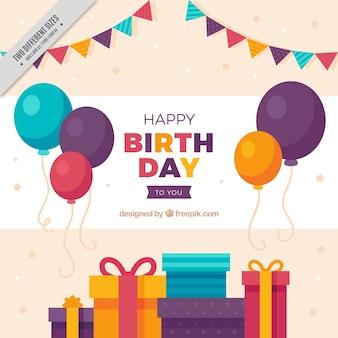 Tło z balonów i kolorowych prezentów