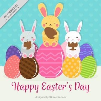Tło z królików i kolorowe pisanki