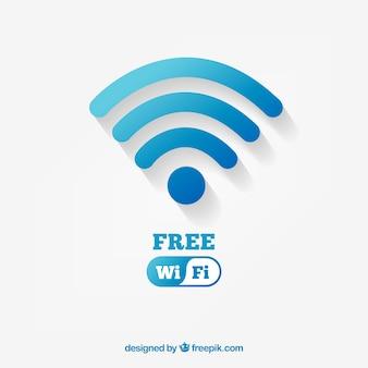 Tło z niebieskim symbolem wifi w płaskim stylu