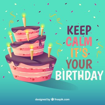 Tło z tort urodzinowy i cytat