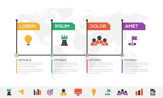 Timeline Infografiki układ z 4 kroków i kolorowe ikony zestaw.