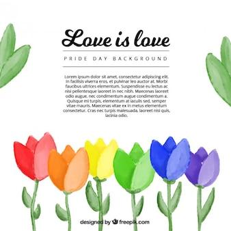 Tło z kolorowych kwiatów akwarela