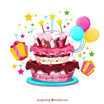 Tort urodzinowy tle z balonami i prezentami