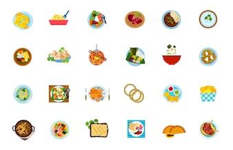 Tradycyjne zestaw ikon żywności