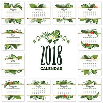 Tropikalny drukowalny kalendarz na rok 2018 z egzotycznymi liśćmi i kwiatami
