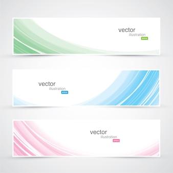 Trzy abstrakcyjne i kolorowe fale wektora banery