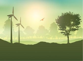 Turbiny wiatrowe i drzewa Krajobraz