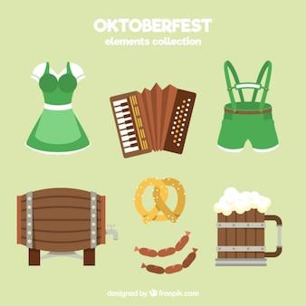Typowe ubranie na Oktoberfest z innymi przedmiotami