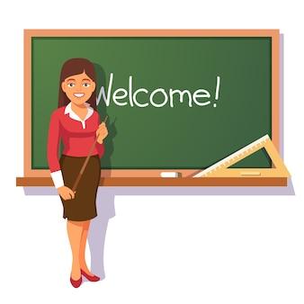 Uśmiechnięta nauczyciel powitanie studentów