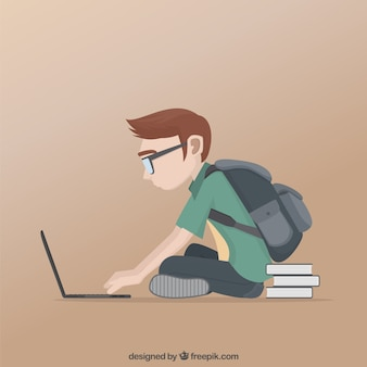 Uczeń nauki w swoim laptopie