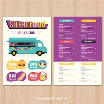 Uliczne menu z jedzeniem w stylu