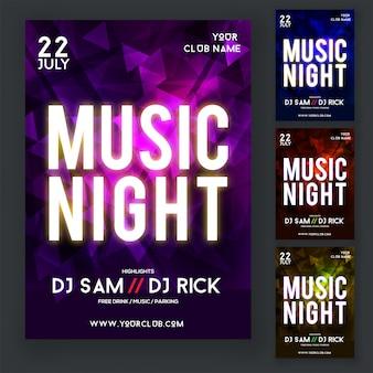 Ulotka nocna z muzyką lub plakat z czterema różnymi kolorami Fioletowy, Niebieski, Czerwony i żółty.