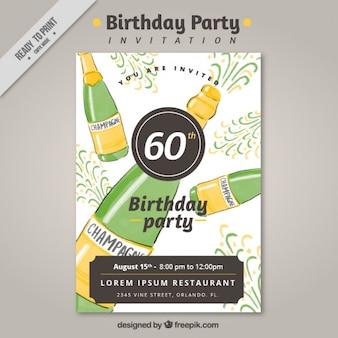 Urodzinowe zaproszenia z szampana
