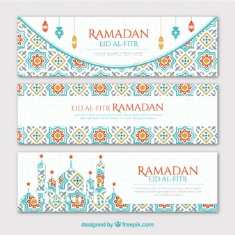 Ustaw geometryczne banery ramadan