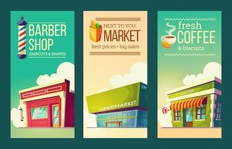 Ustaw pionowe banery w stylu retro z supermarketem, fryzjerem, kawiarnią
