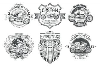 Ustaw wektora zabytkowe czarne odznaki, emblematy z niestandardowego motocykla